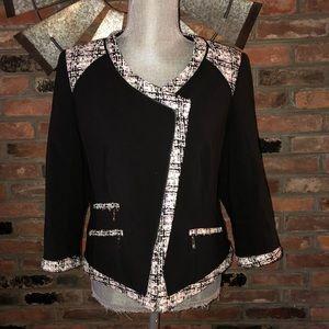 WHBM Moto Zip Tweed Jacket